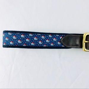 VINEYARD VINES Men's Whale Holiday Leather Belt